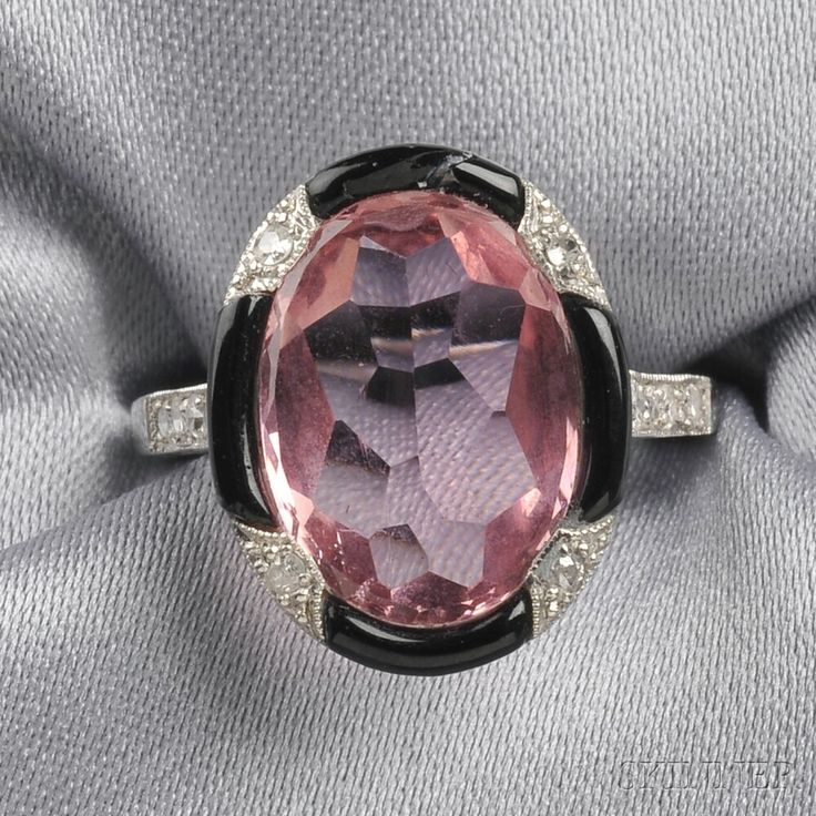 Art Deco Platinum, Pink Tourmaline, Onyx, and Diamond Ring   Sale Number 2641B, Lot Number 209   Skinner Auctioneers