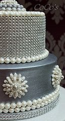 silver and pearl wedding cake | Flickr - Photo Sharing!