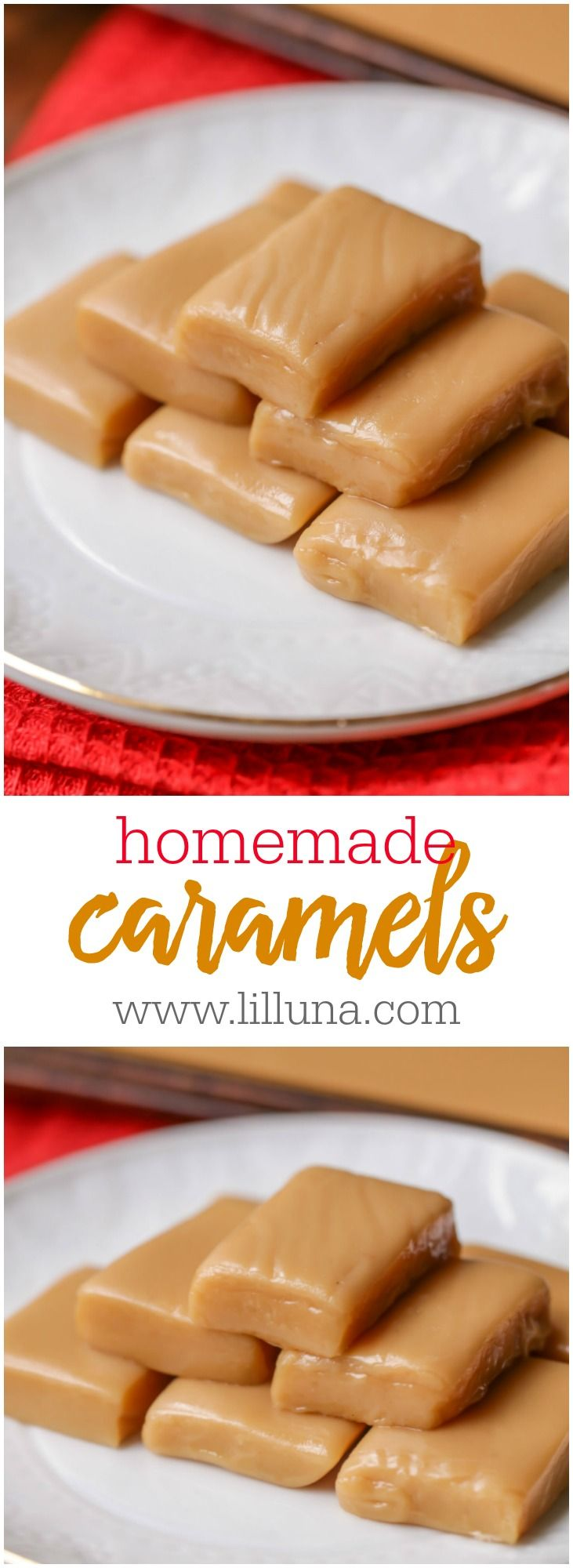 Soft, chewy and PERFECT Homemade Caramels - just wrap in wax paper and gift to friends and family. They're so easy to make!