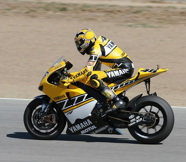 Valentino Rossi, 2005, Laguna Seca.  Special livery celebraing Yamaha motor's 50th anniversary. Vale was riding second behind Nicky, but Colin Edwards was able to use his familiarity of Laguna to grab second.