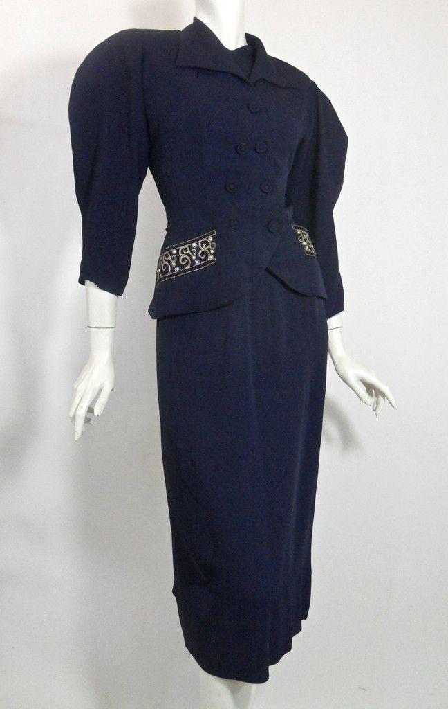 Beaded Blue 1940s Jacket & Dress Set by Paul Sachs