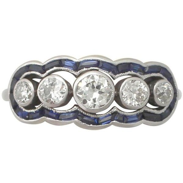 Preowned 1930s Diamond And Sapphire White Gold Cocktail Ring ($3,886) ❤ liked on Polyvore featuring jewelry, rings, engagement rings, white, sapphire engagement rings, antique sapphire rings, white sapphire rings, diamond rings and diamond cocktail rings