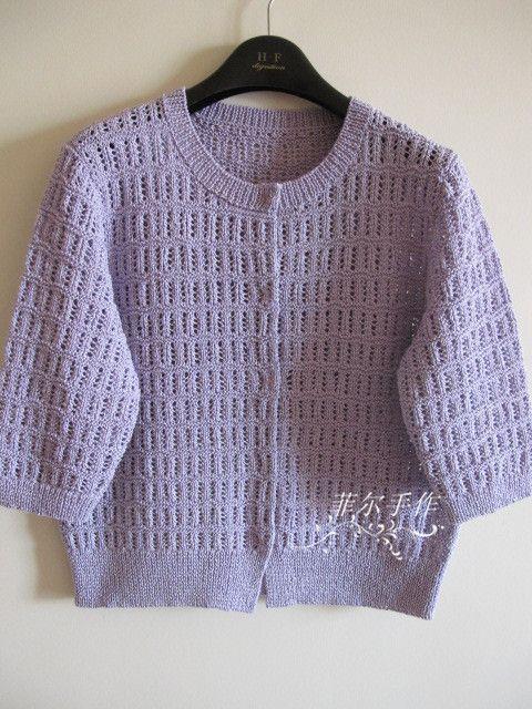 【菲尔手作】晓荷--- 清雅短款开衫 - 菲尔 - 菲尔的编织博客