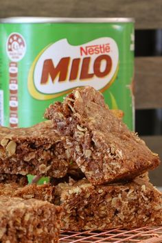 Lunch box recipes don't come any quicker or easier than this yummy OAT & MILO SLICE! Simply melt, mix and bake... too simple!!    #milo #oat #malted #milk #slice #bars #kids #kidrecipes #recipe #thermomix #conventional #easy #bake #lunchbox #australia #australian #yum