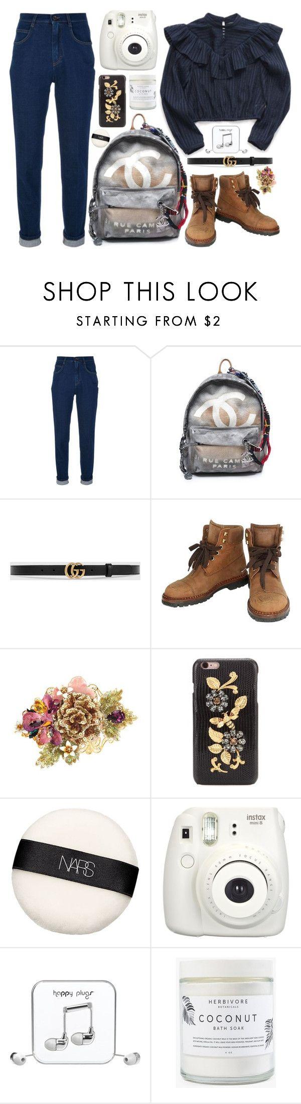 """Work"" by natjulieta on Polyvore featuring moda, Dolce&Gabbana, Chanel, Gucci, NARS Cosmetics, Fujifilm, Happy Plugs, Herbivore, ootd y Coordinates"