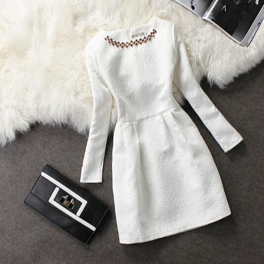 Elegant round neck long-sleeved dress #follow me for more!!!