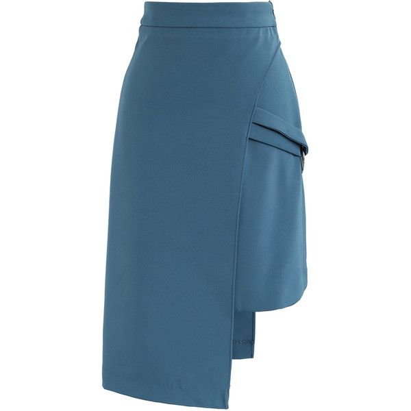 Chicwish Uniquely Fascination Asymmetric Flap Skirt in Teal ($40) ❤ liked on Polyvore featuring skirts, blue, chicwish skirt, teal skirt, asymmetrical skirt and blue skirt