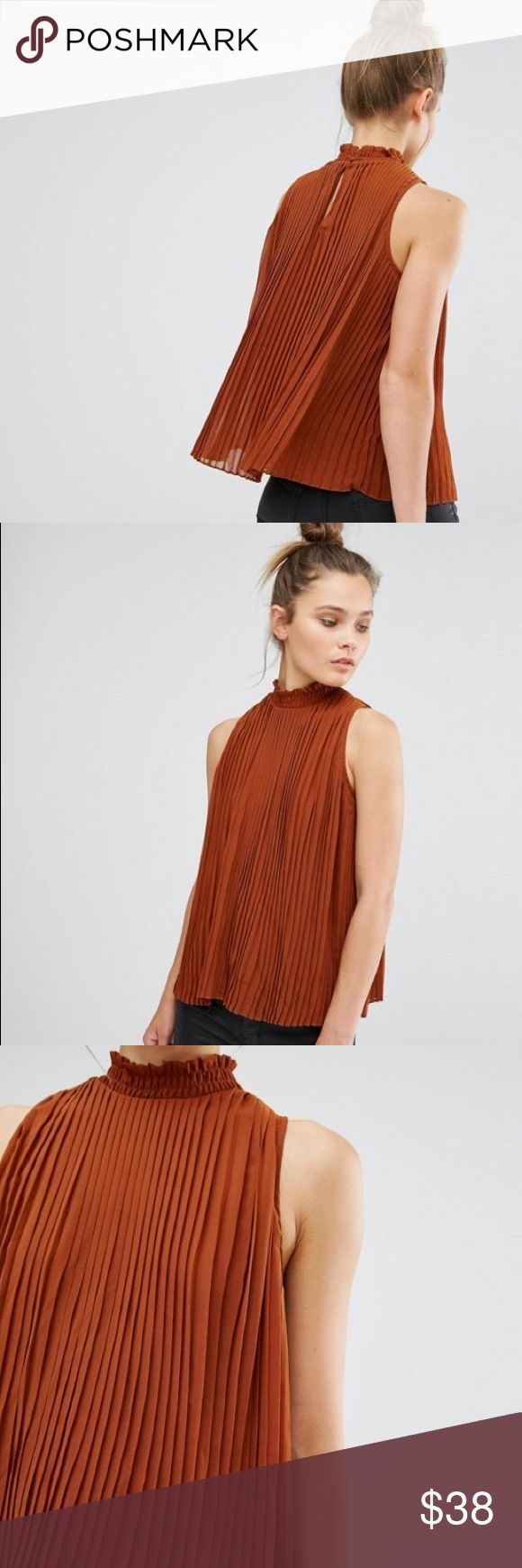 🆕Listing! Rust orange NEW LOOK pleated tank Top by New Look Pleated woven fabric Fully lined High ruffle neckline Button-keyhole back Loose fit – falls loosely over the body Machine wash 100% Polyester Size 12 US, (14 UK & EU 42) New Look Tops Blouses