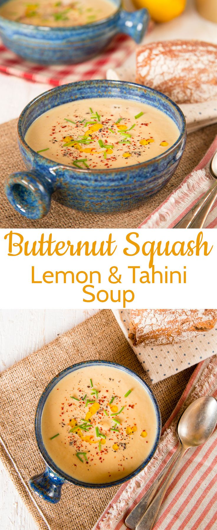 This fragrant golden soup is a perfect recipe for spring; butternut squash soup with lemon and tahini. Light and delicious.