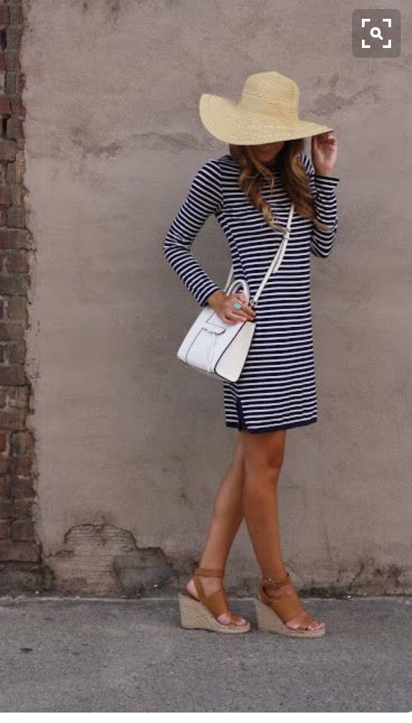 Spring 2016 stitch fix navy and white striped dress with white purse straw hat and neutral espadrilles. Resort wear. <3
