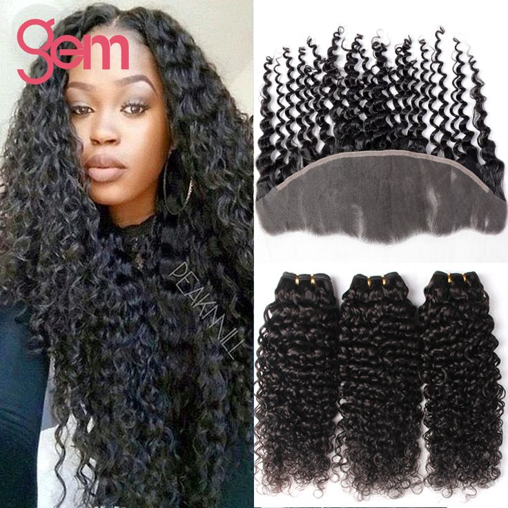 Brazilian Curly Hair Frontal with 3Bundles Human Hair 13x4 Ear to Ear Lace Frontal Closure with Brazilia Virgin Hair Curly Weave