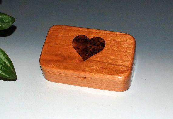 Cherry Wood Treasure Box with a Redwood Burl Inlay Heart - Small Wood Box Treasure Box Keepsake Box Small Jewelry Box Wooden Box Boxes by BurlWoodBox