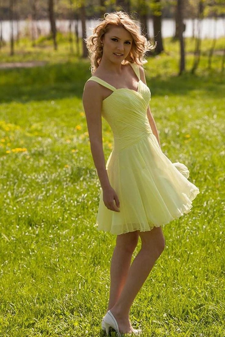 93 best top 50 yellow bridesmaid dresses images on pinterest a line sweetheart pleated chiffon mini bridesmaid dresses ombrellifo Gallery