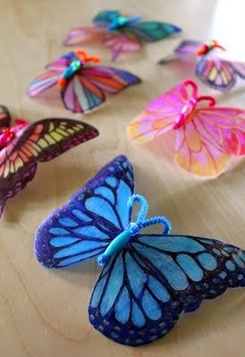Plastic milk jug butterflies - I love this idea! Reusing milk jugs instead of using shrink plastic sheets is a great way to create while reducing waste and keeping away from the oven. Check out http://alphamom.com/family-fun/crafts/milk-jug-decorative-window-crafts/