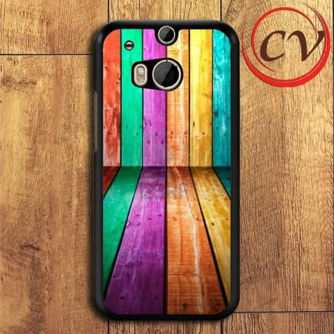 Colorfull Wood HTC One M8 Black Case