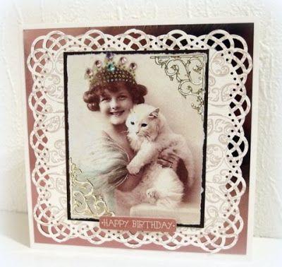 Girl with cat. Vintage photo added tiara. Moski