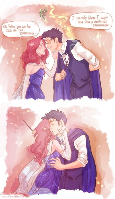 A Harry Potter Comic Book! Not sure if this is Harry and Ginny or James and Lily... but its still cute! :)<<<< Lily and James: Harry's glasses are round and Ginny has more orange hair #HP