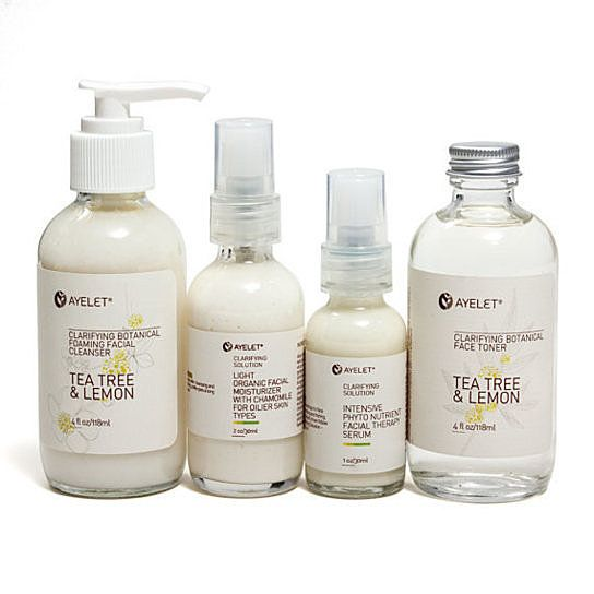 Organic Facial Care Set for Oily Skin 4 Steps Regimen for Clarifying and Balancing
