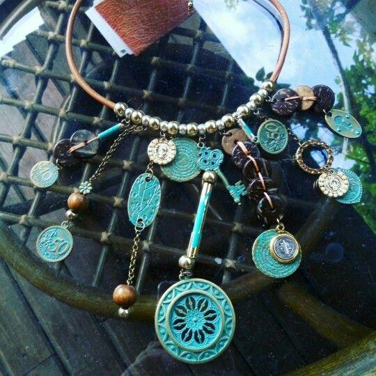 Vintage Aged Ethnic Charm Necklace - free shipping worldwide