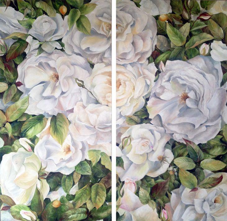 'Floribundance' 2 x 90cm x 45cm Oil on Canvas by Ellie Eburne