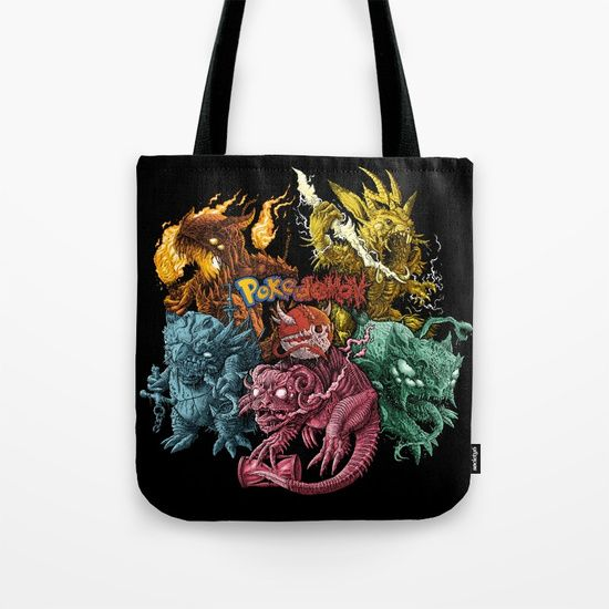 Society6 tote bag, pokedemon project, dark art, sweet, cute, colorful, tattoo style, girls, fasion, death metal, black metal, demon, creepy monster, character design, concept art, cg, tshirt design, deathcore, album, demonic, hell, evil, icecream, unicorn.