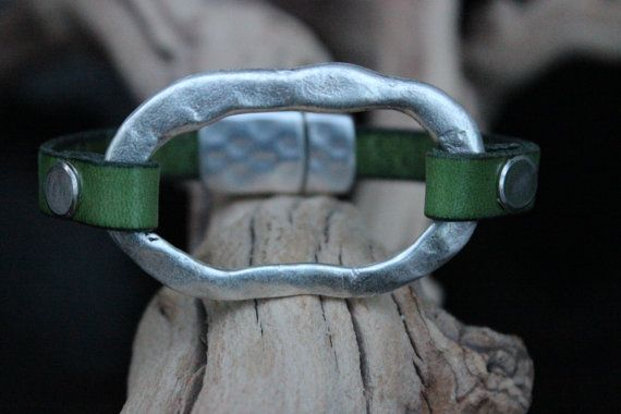 Unisex Leather Bracelet Hammered Silver by PepperPotLeatherShop, $41.99