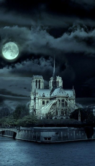 Awesomely spooky Cathédrale Notre Dame de Paris at night. You expect to see the shadow of a bat cross the moon at any moment.
