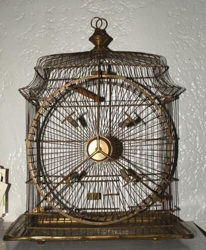 Vintage Hendryx Brass Bird Cage 1881 with Ferris Wheel on The Side   eBay