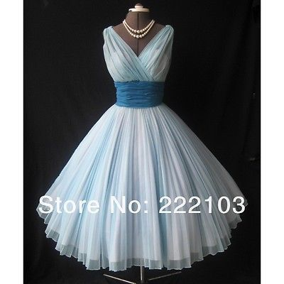 New 1950s style Knee length sash Blue Chiffon party dress Prom dress evening