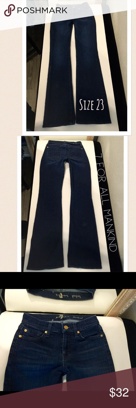 7 for all Mankind bootcut jeans size 23 Beautiful new condition 7fam jeans🐝style:bootcut🐝inseam:33🐝in pic# 2 please notice a almost microscopic flaw in denim that if not mentioned may most likely not be known🐝stretch🐝awesome low price 7 For All Mankind Jeans Boot Cut