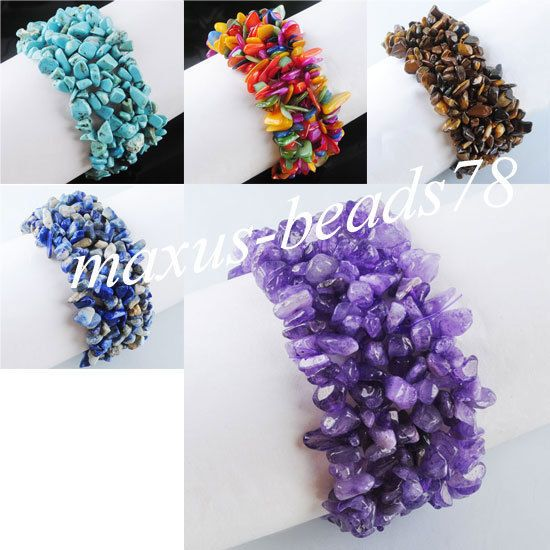"Free shipping Natural Gemstone Chips Beads Weave Stretch Bracelet 7"" MBH008 in Jewellery & Watches, Costume Jewellery, Bracelets 