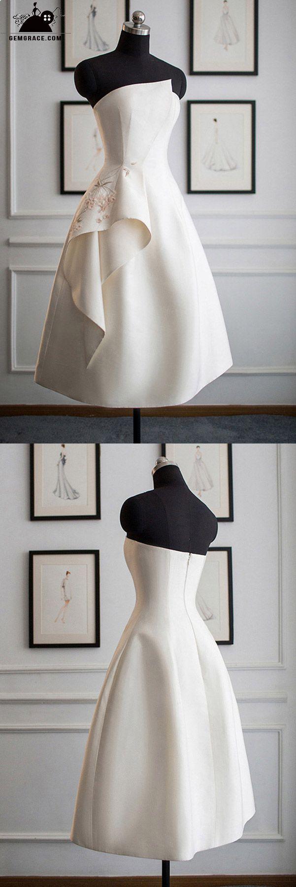 Unique ruffled short wedding dress with flounce