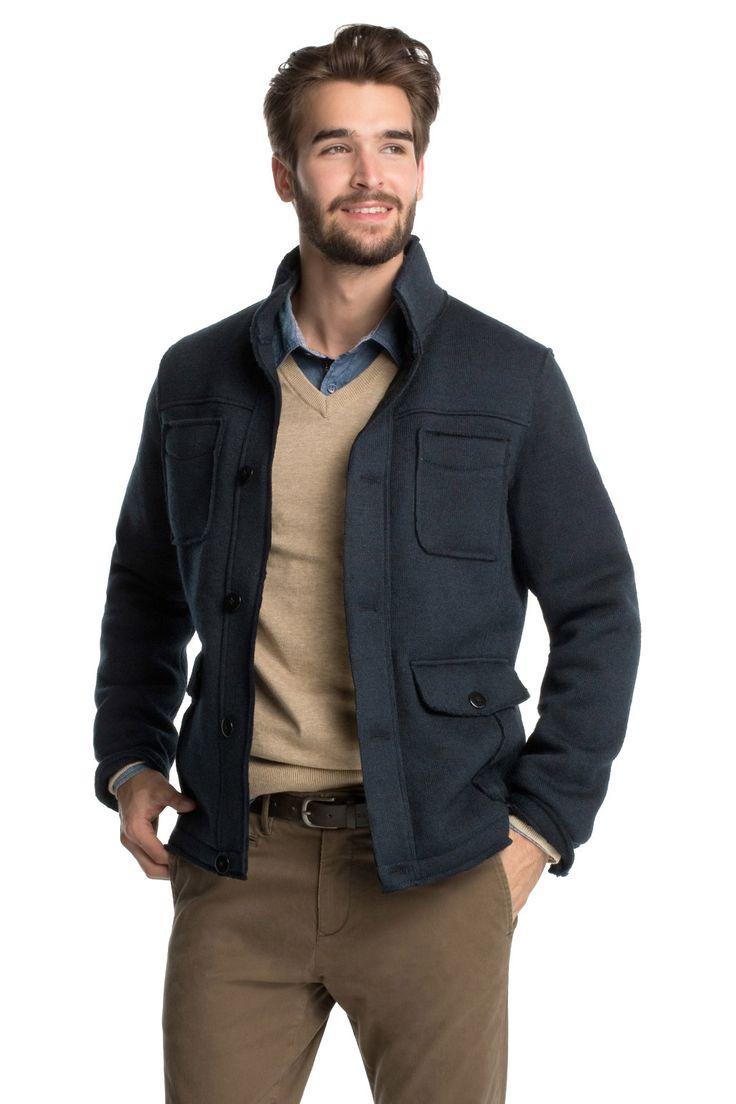 Esprit - - Gebreid field jack met wattering kopen in de online shop