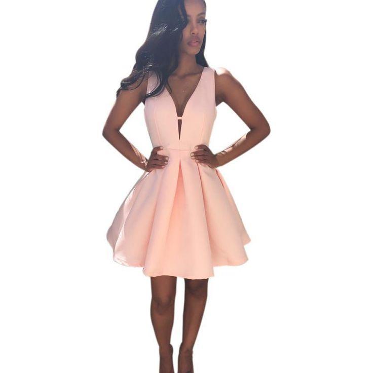 Women Skater Dress Womens V Neck Sleeveless Pink Party Dress