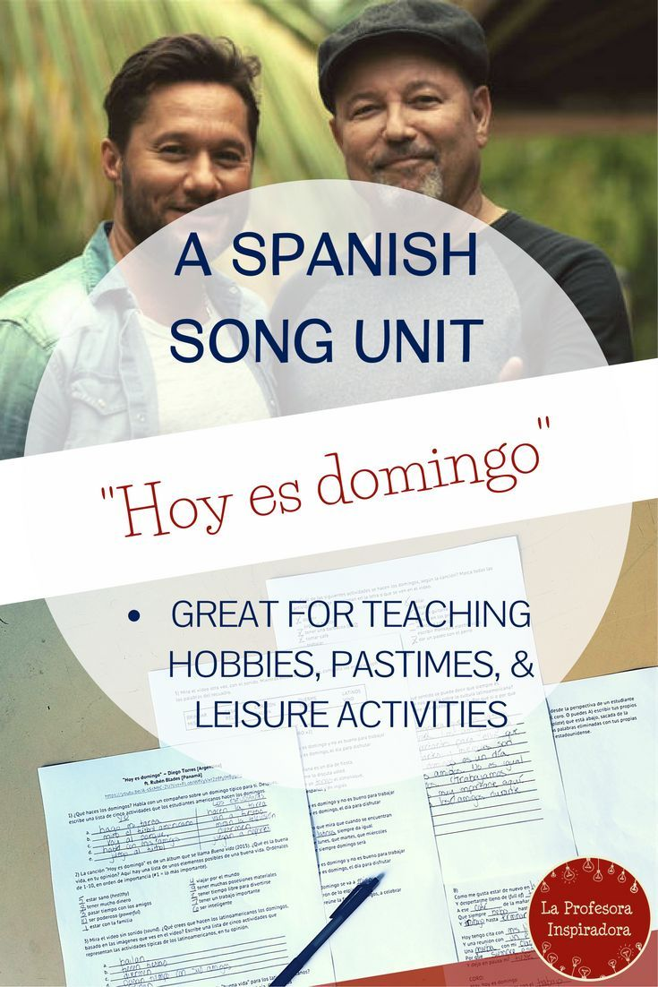 "Click for a complete activity packet on the song ""Hoy es domingo,"" by Diego Torres. This is an excellent song to use for a comprehensible input activity with authentic cultural materials in lower-level Spanish classes, and is particularly well-suited for use in a unit on hobbies, pastimes, and leisure activities. The song also offers an excellent opportunity to make cultural comparisons between Latin America and the US. Students love it!"