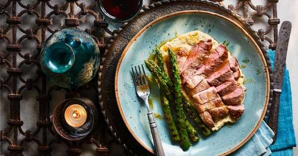 Lamb steaks with yeast butter and warm hummus | Recipe ...