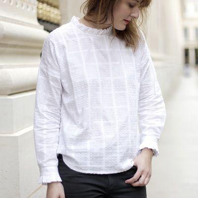 Blouse Claudia plumetis - Maison Brunet Paris #blouse #top #plumetis #white #volants #checks #madeinfrance