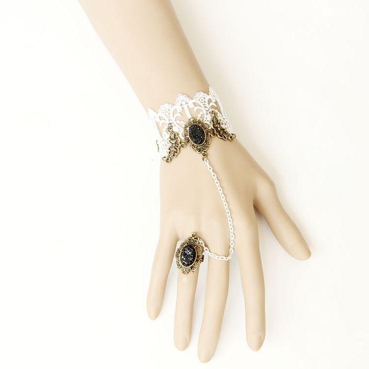 Принцесса готическая Лолита браслет классическая Мода винтаж королевский белое кружево браслет с ер ен ос цепь набор женских аксессуаров WS-71