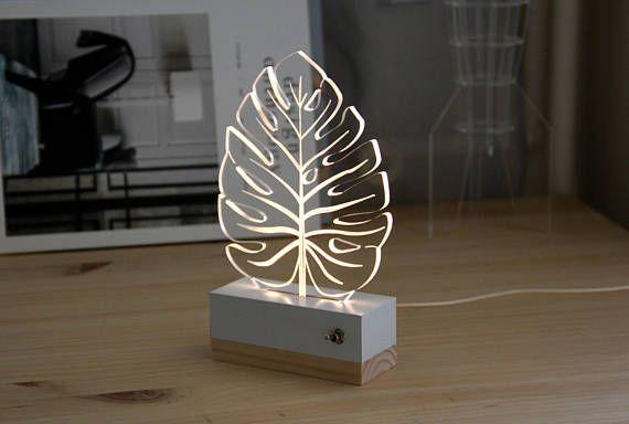 Leaf Tropical Monstera Nightlight Lamp 3d Nature Modern Decoration Led Plexiglas Gift Idea Em 2020 Trofeus Personalizados Faca Voce Mesmo Leds