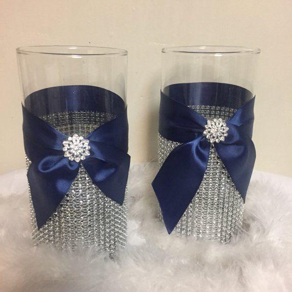 Marineblaues Hochzeitsmittelstück, Vase mit Strass, Bling Vasenmittelstück, Tischdekoration, Hochzeitsmittelstück, Bling Hochzeit, Marineblau   – baby shower