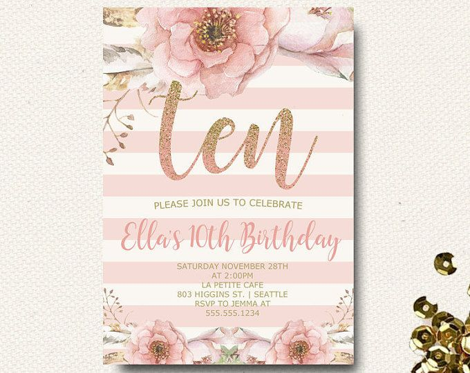 10th birthday party invitations Hallo – 10th Birthday Invitations