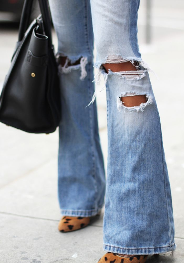 Womens ripped flare jeans – Global fashion jeans models