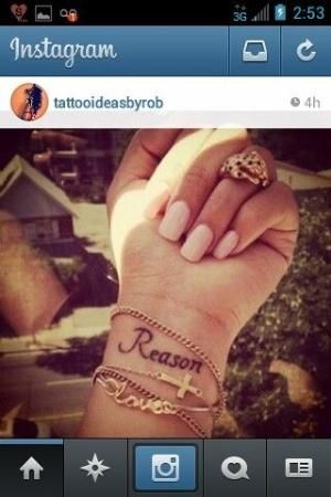 Tattoo ideas, tattoos for women, girls, men, guys, reason, wrist tattoos, bracelets, Christian tattoos, pink nails, simple, cute, small by alana