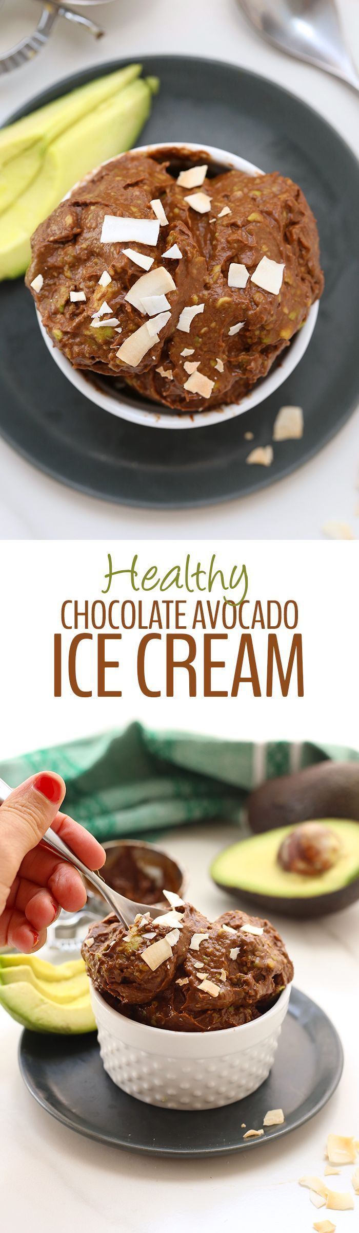 4 Ingredients is all you need for this No-Churn Healthy Chocolate Avocado Ice Cream. The perfect summer dessert recipe made for whole foods and ready in 5 minutes or less.