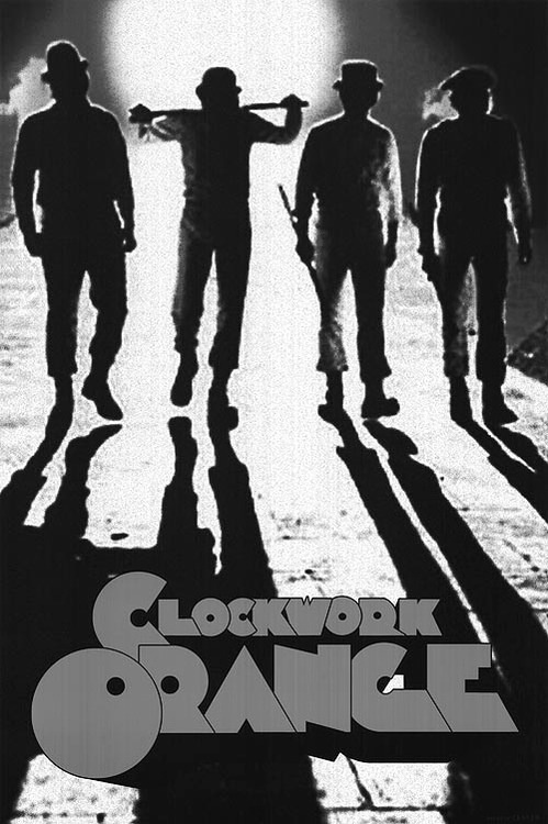 Clockwork orange movie poster in black and white
