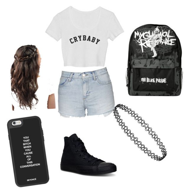 """""""Emo starter pack"""" by rhiannon-nichole-infanzon on Polyvore featuring Topshop and Converse"""