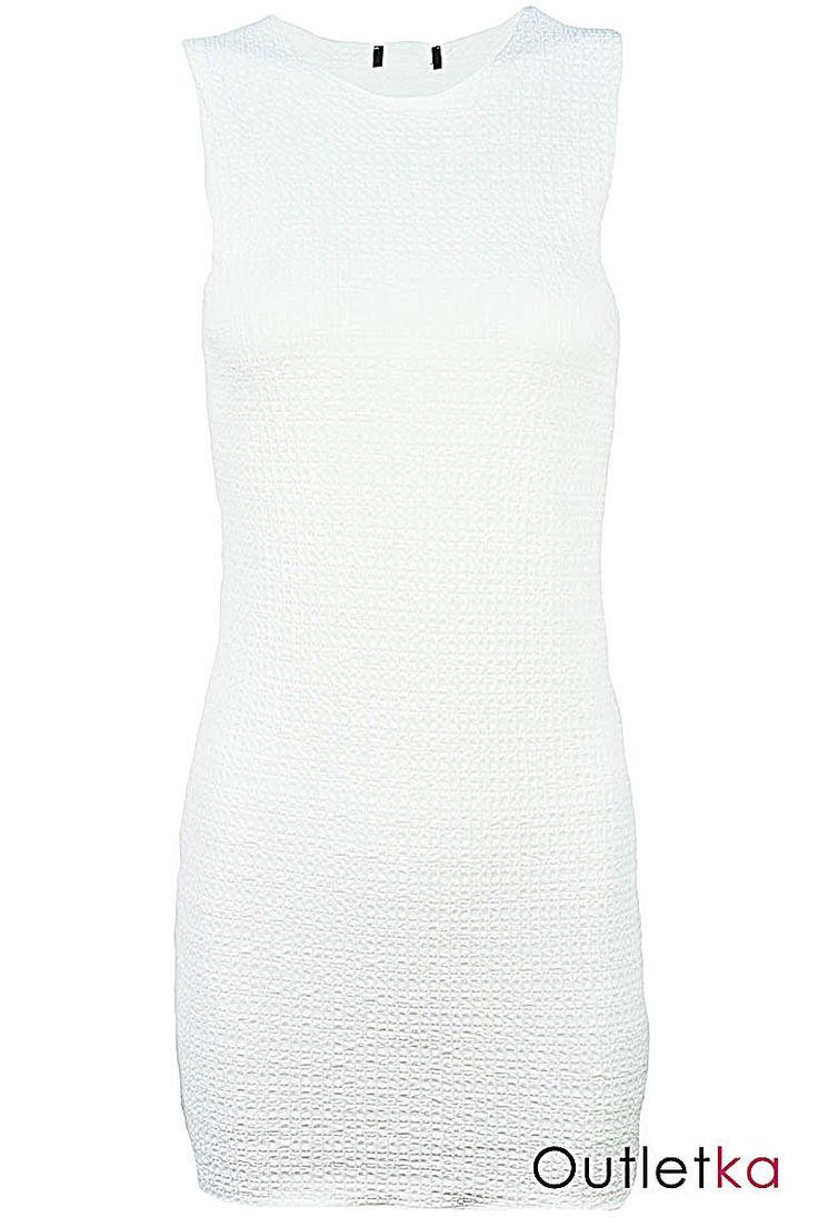 Nowa sukienka firmy TopShop. Sukienka w kolorze białym. Bez rękawów. Dzięki rozciągliwemu materiałowi, dobrze dopasowuje się do sylwetki. Materiał drapowany, dobry gatunkowo.