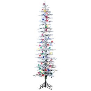 7 Pre Lit Flocked Pencil Pine Artificial Christmas Tree