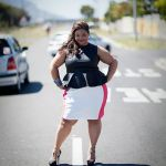 Plus size leatherette peplum and coral and white panel skirt(Curv8ious Clothing)