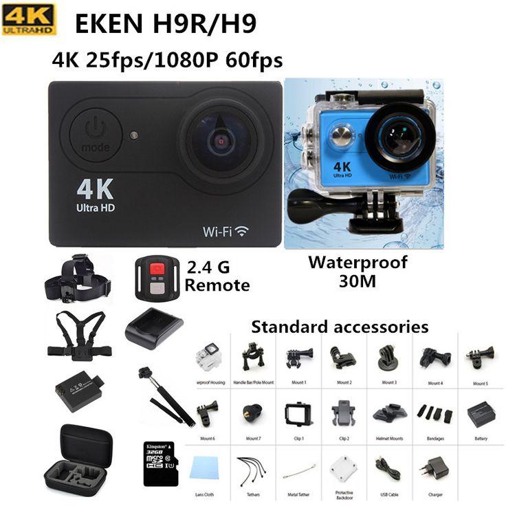 アクションカメラeken h9/H9Rリモート超hd 4 k wifi 1080 p/60fps行く防水プロカム2.0液晶170dレンズヘルメットカム移動プロスタイル